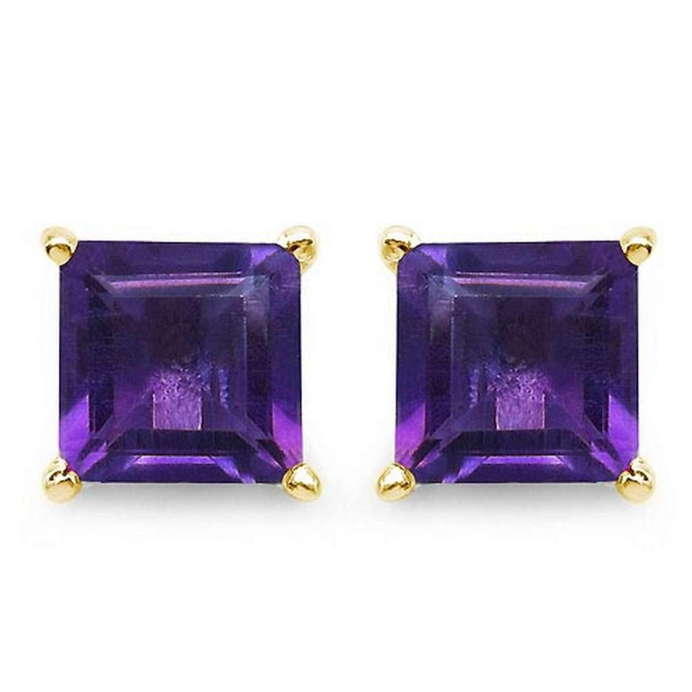 Certified 2.50 CTW Genuine Amethyst And 14K Yellow Gold Earrings #PAPPS91022