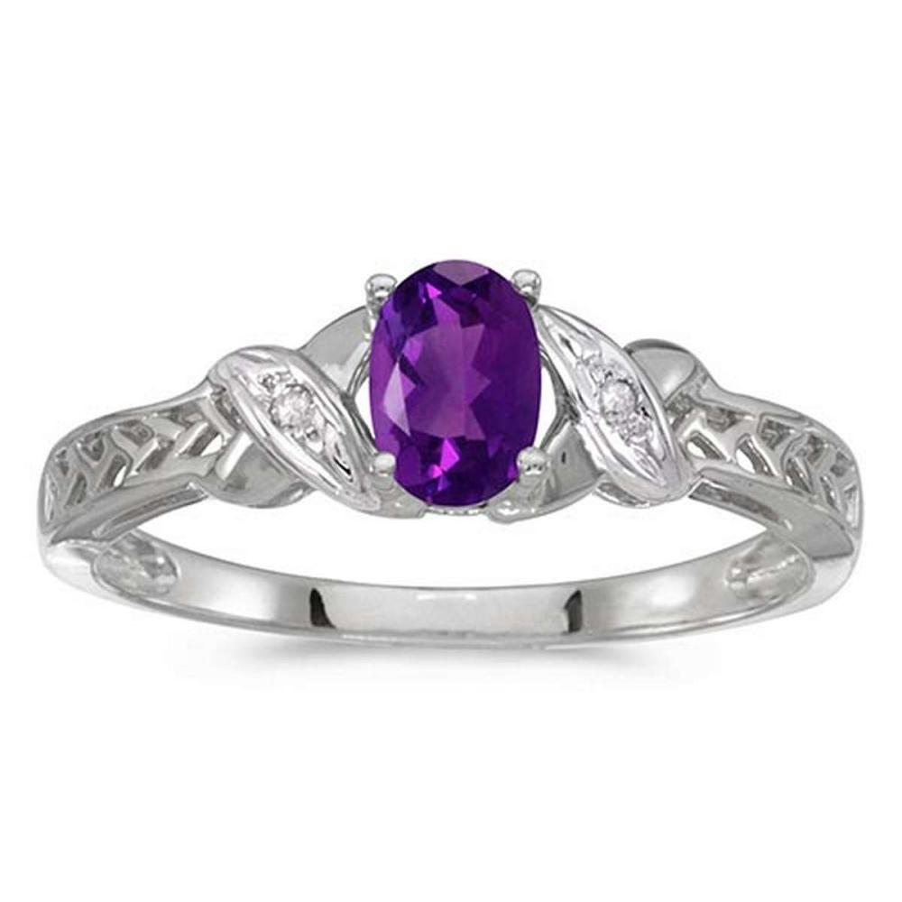 Certified 14k White Gold Oval Amethyst And Diamond Ring #PAPPS50836