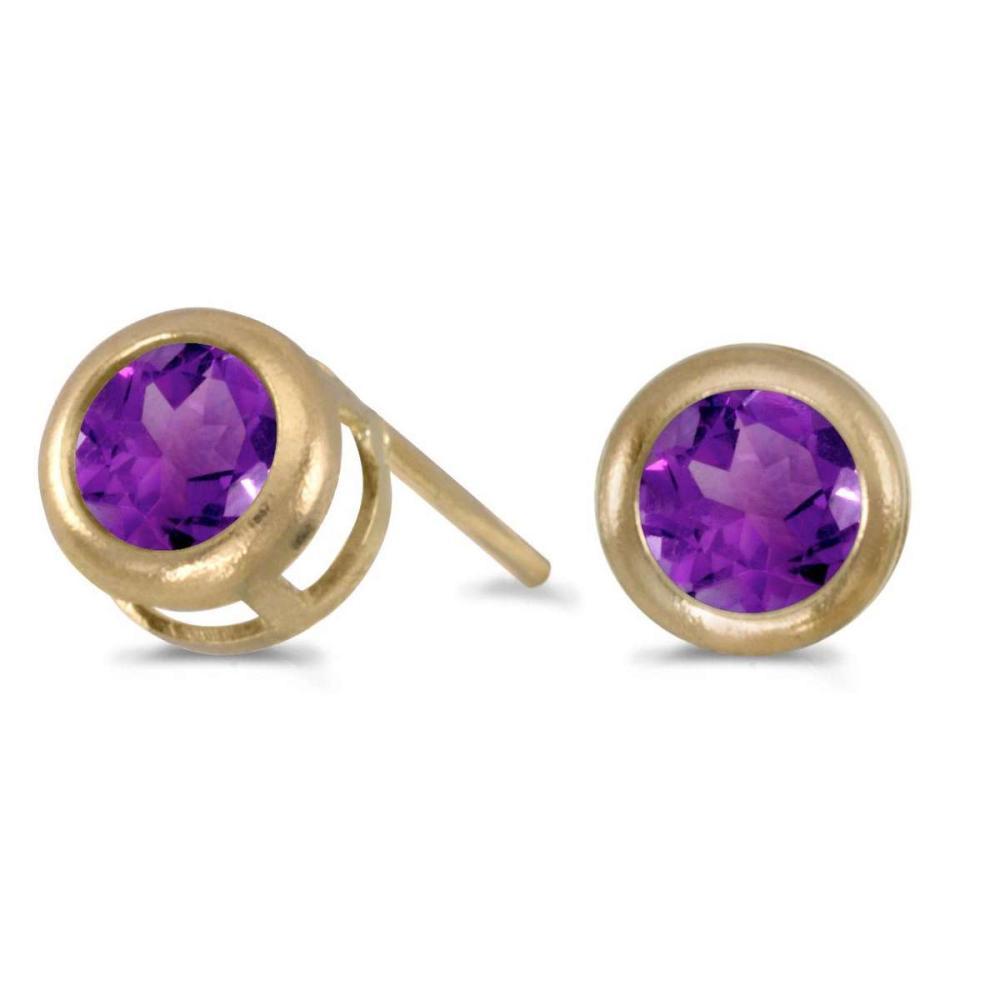 Certified 14k Yellow Gold Round Amethyst Bezel Stud Earrings 0.32 CTW #PAPPS27314