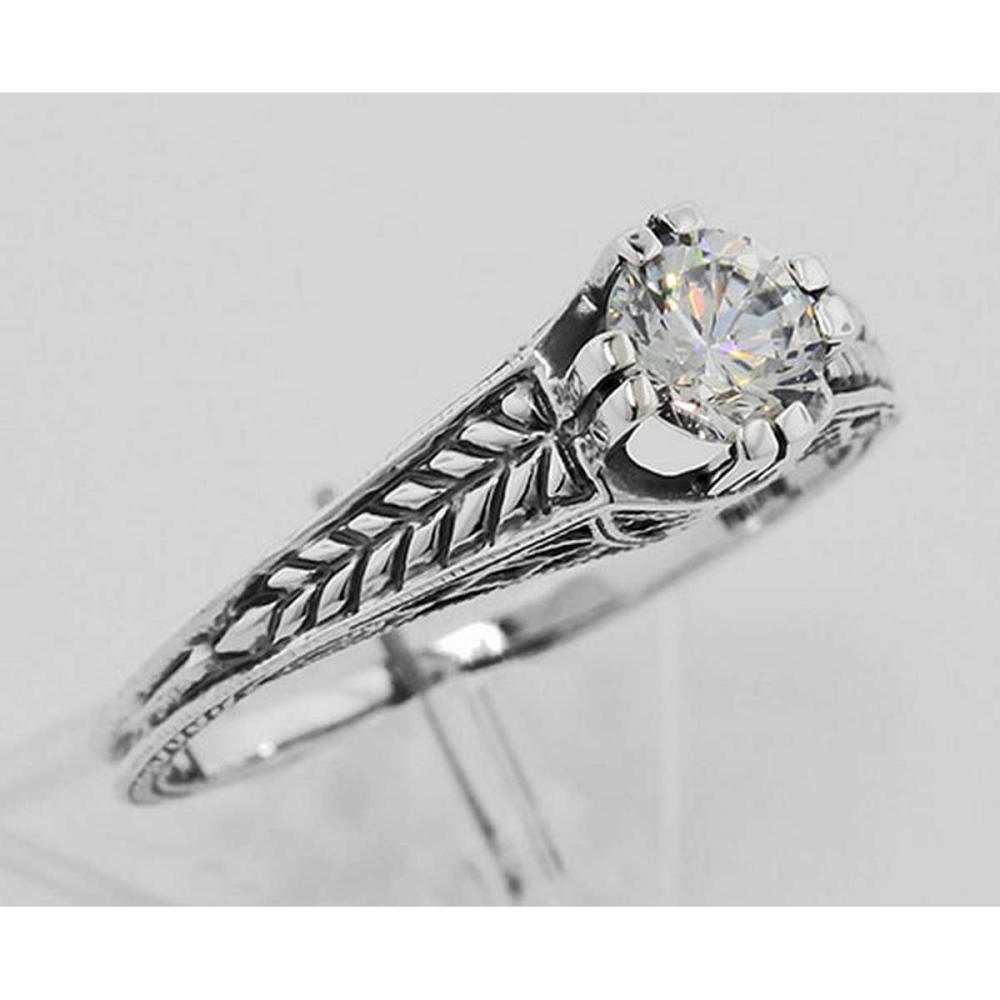 Beautiful Victorian Style CZ Solitare Filigree Ring - Sterling Silver #PAPPS98132