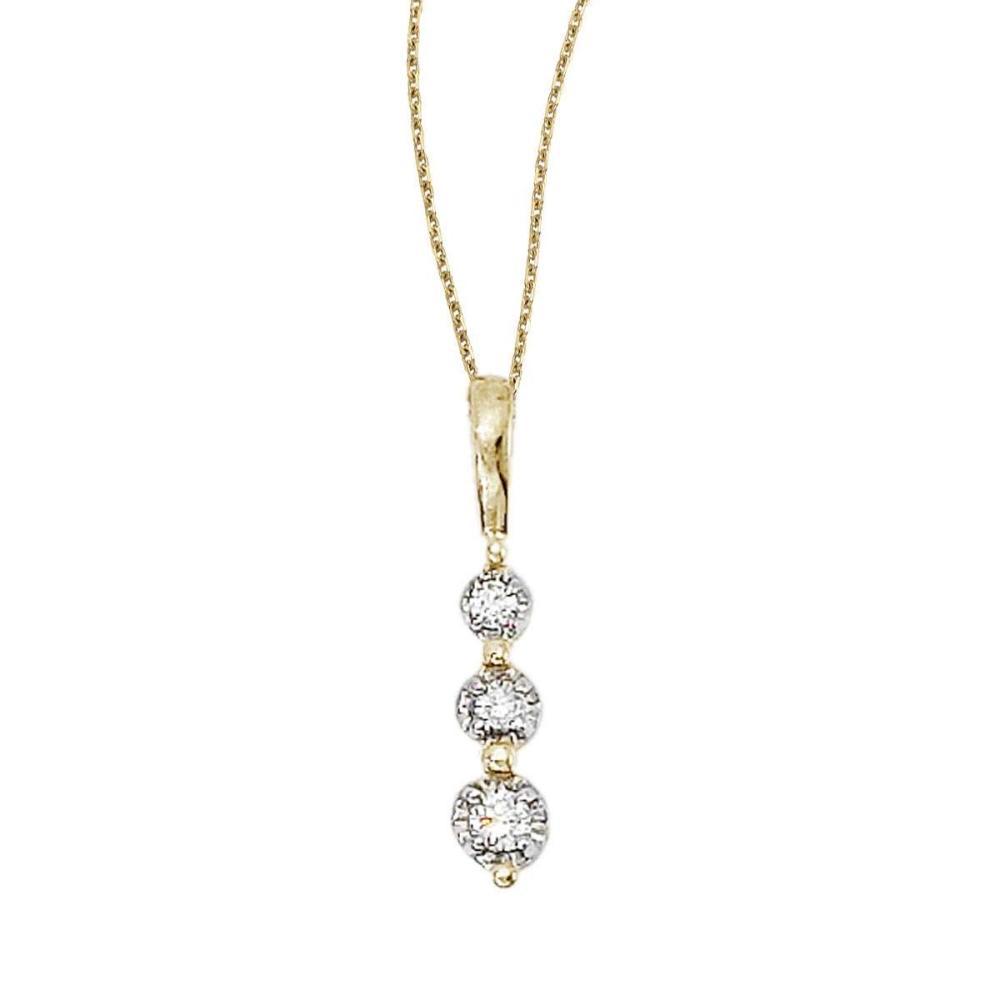 Certified 14k Yellow Gold 3 Stone Diamond Drop Pendant #PAPPS26842