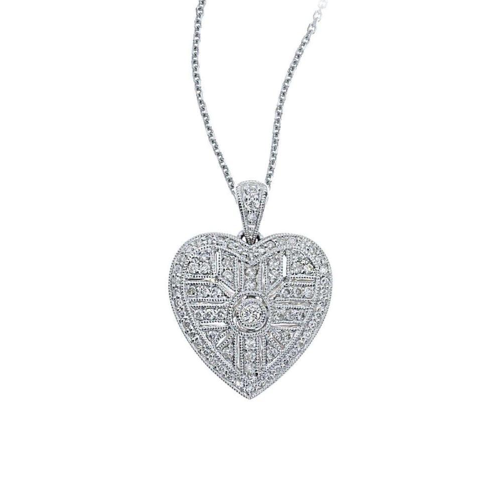 Certified 14K White Gold Art Deco Heart Diamond Pendant (.52 carat) #PAPPS26596