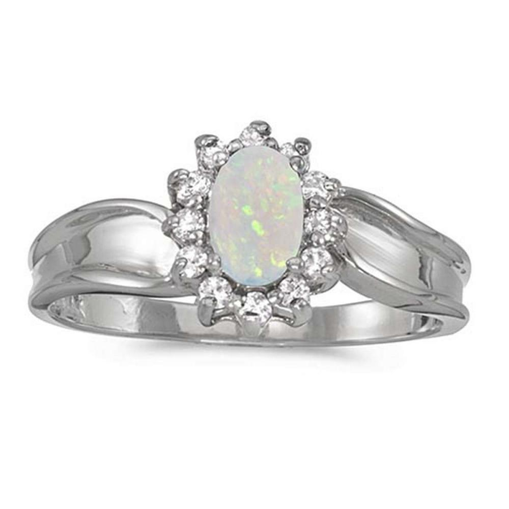 Certified 14k White Gold Oval Opal And Diamond Ring #PAPPS50869