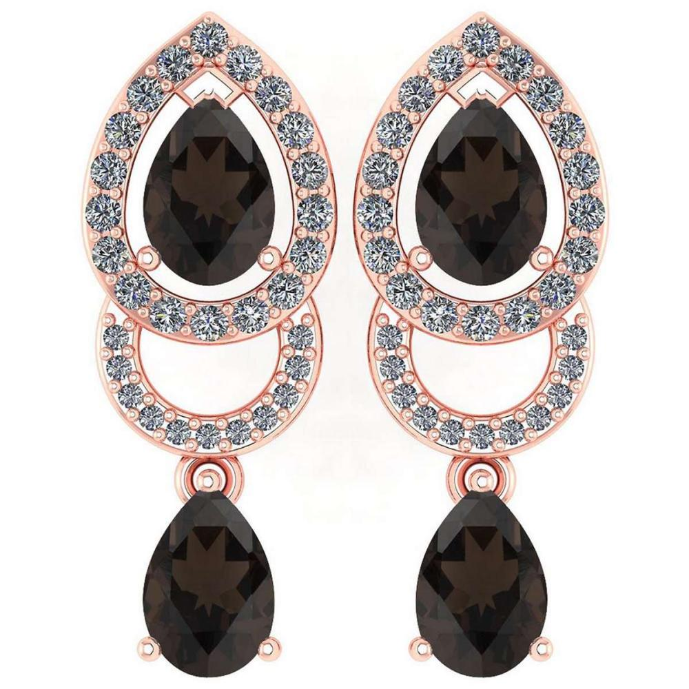 2.34 Ctw Smoky Quarzt And Diamond 14k Rose Gold Halo Dangling Earrings #PAPPS96141
