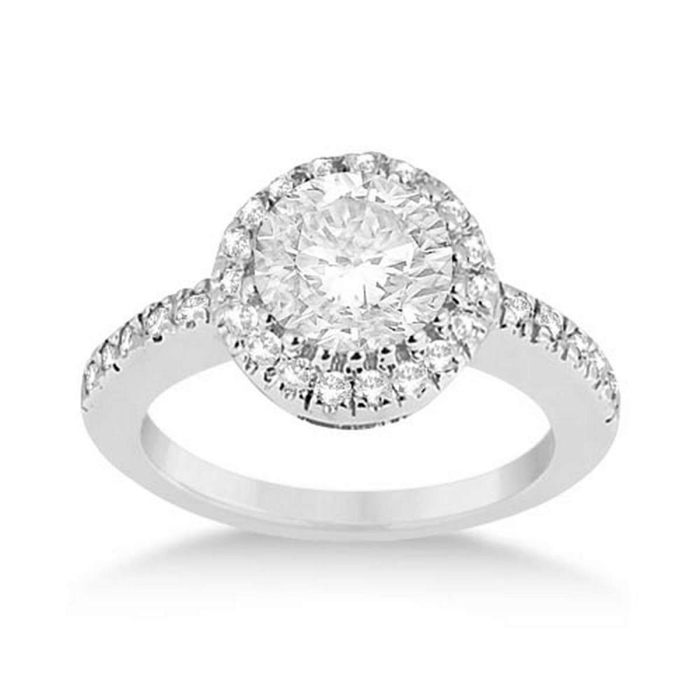 Pave Halo Diamond Engagement Ring Platinum (0.75ctw) #PAPPS21322
