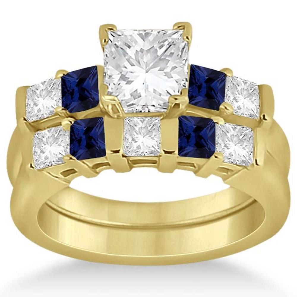 5 Stone Diamond and Blue Sapphire Bridal Set 18k Yellow Gold 1.12ct #PAPPS21313