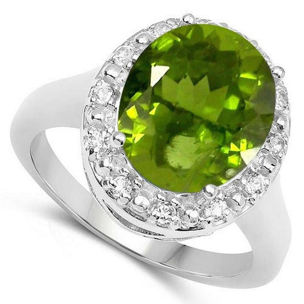 Certified 1.50 Ctw. Genuine Peridot And Diamond 14K White Gold Ring #PAPPS91079
