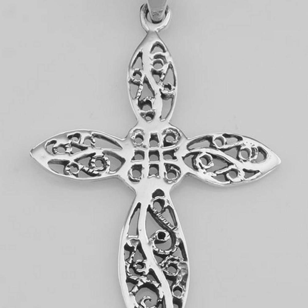 Beautiful Antique Style Filigree Cross Pendant - Sterling Silver #PAPPS97773