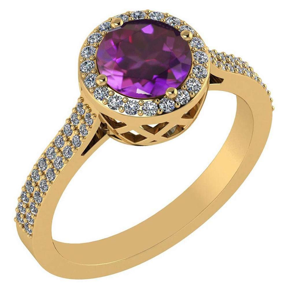 1.77 Ctw Amethyst And Diamond 14k Yellow Gold Halo Ring #PAPPS96234