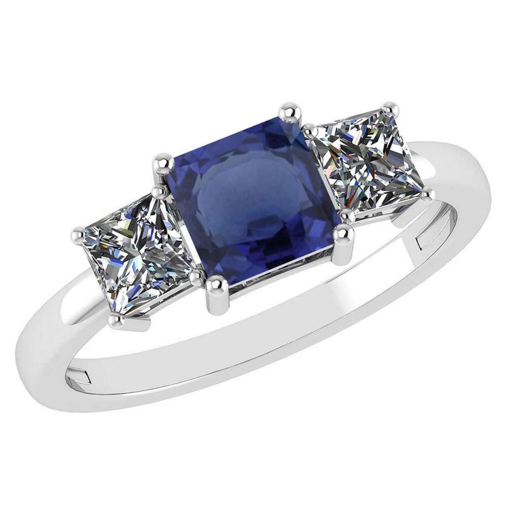 Certified 1.26 Ctw Blue Sapphire And Diamond 14k White Gold Simple Ring #PAPPS95580