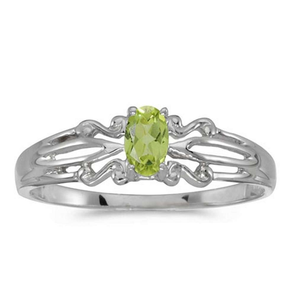 Certified 14k White Gold Oval Peridot Ring #PAPPS50850