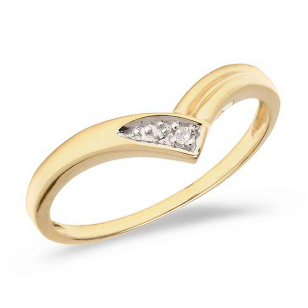 Certified 14K Yellow Gold Diamond Chevron Ring #PAPPS50867