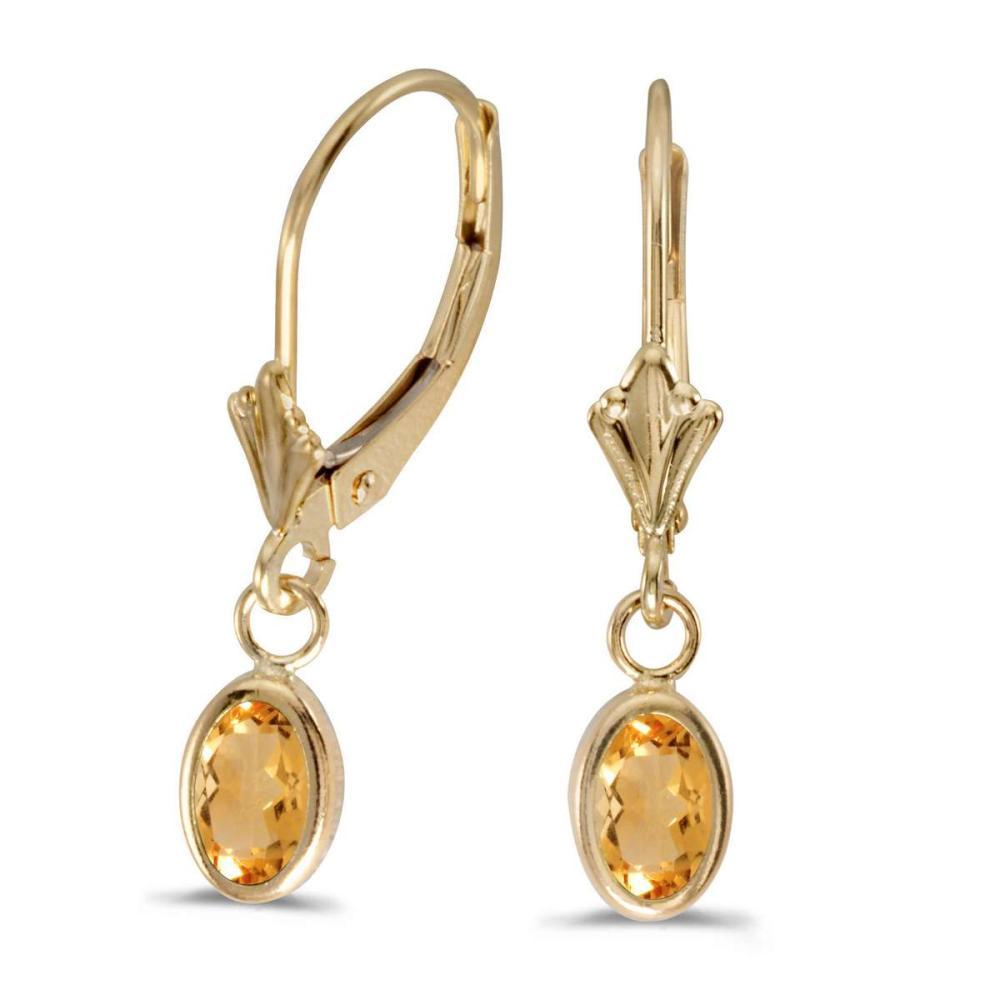 Certified 14k Yellow Gold Oval Citrine Bezel Lever-back Earrings 0.62 CTW #PAPPS27272