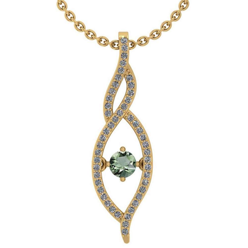 Certified 0.47 Ctw Green Amethyst And Diamond 14k Yellow Gold Pendant VS-SI1 #PAPPS95341