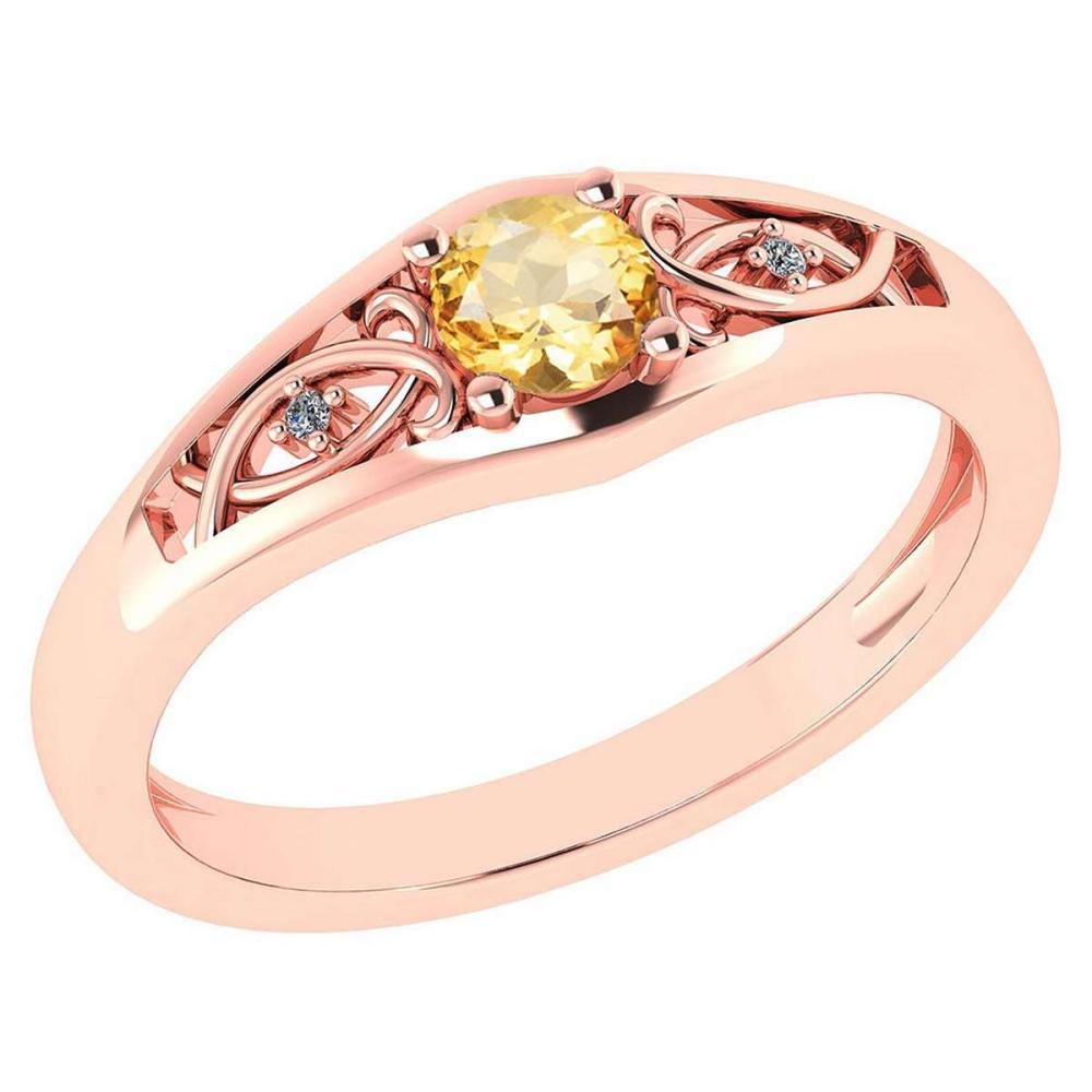 Certified 0.37 Ctw Citrine And Diamond 14k Rose Gold Halo Ring #PAPPS95477