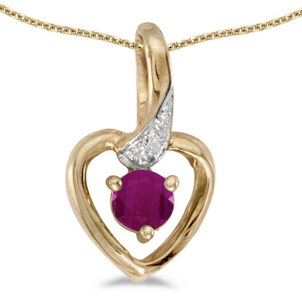Certified 10k Yellow Gold Round Ruby And Diamond Heart Pendant 0.25 CTW #PAPPS27515