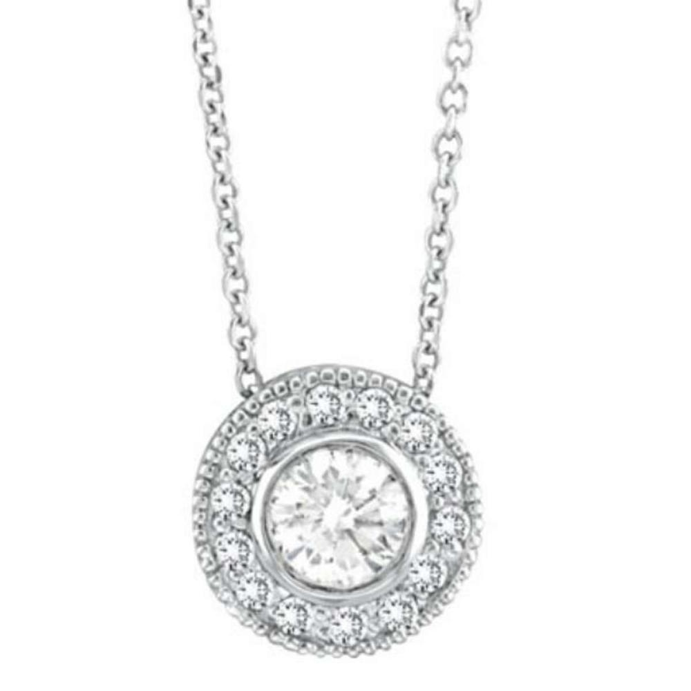Halo Diamond Circle Pendant Necklace 14K White Gold (0.70ctw) #PAPPS20958