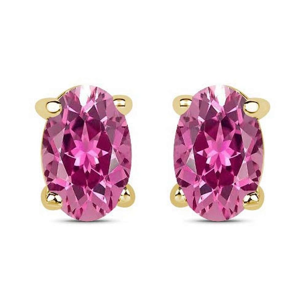 4.50 CTW Genuine Pink Tourmaline And 14K Yellow Gold Earrings #PAPPS91301