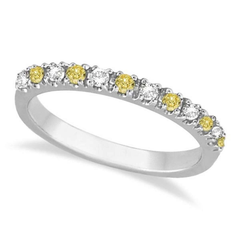 Yellow Canary and White Diamond Stackable Ring Band 14k Gold (0.25ct) #PAPPS20956