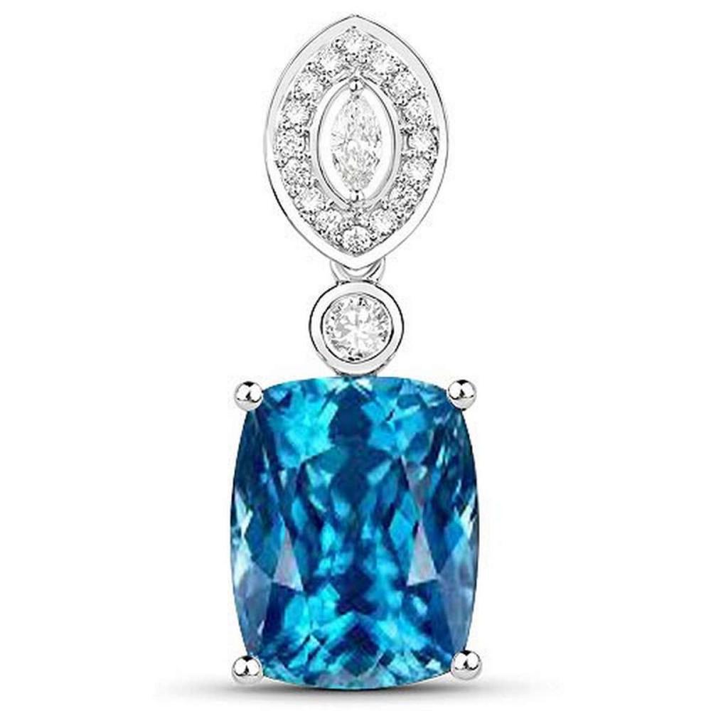 Certified 4.30 CTW Genuine Aquamarine And Diamond 14K White Gold Pendant #PAPPS90779