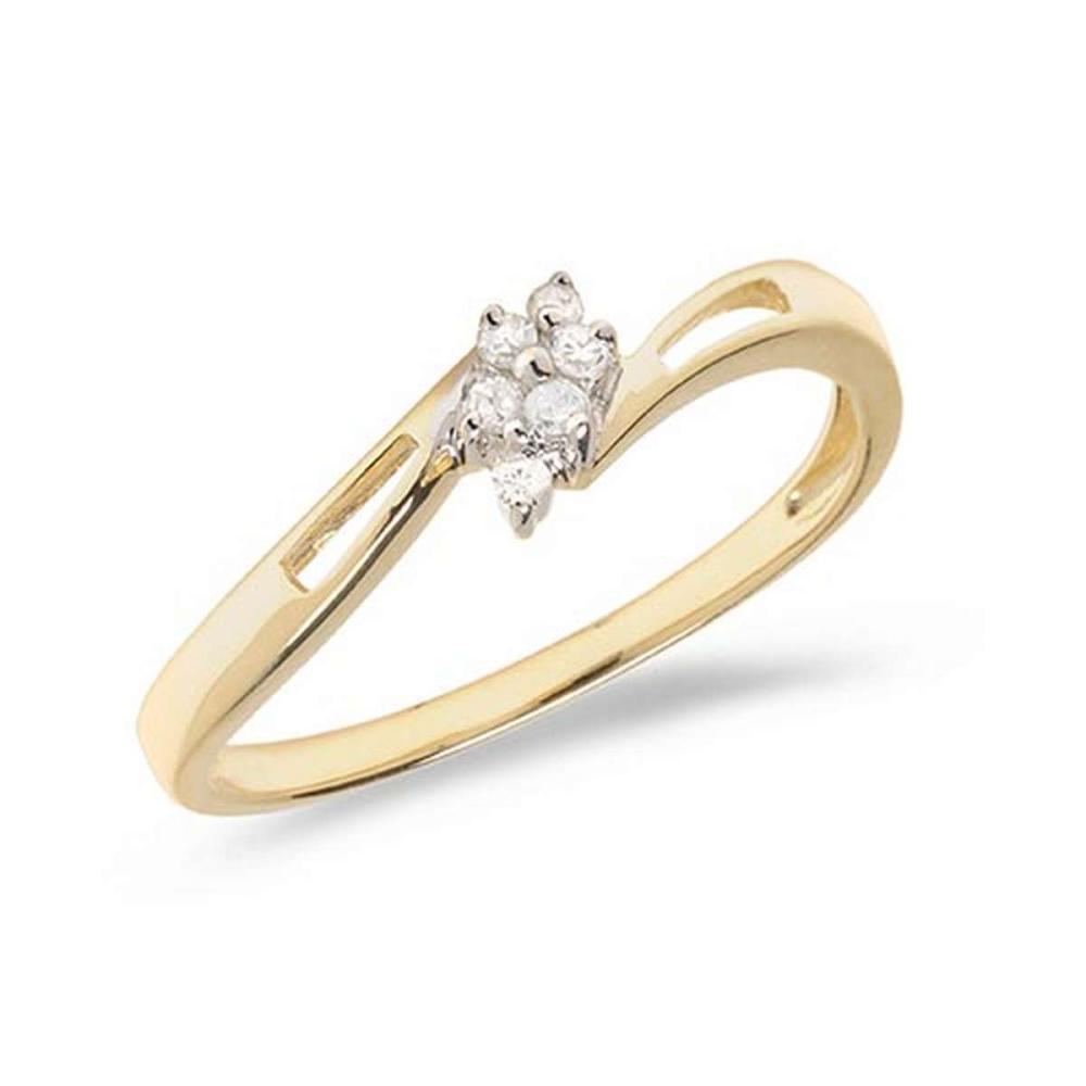 Certified 10K Yellow Gold Diamond Cluster Ring #PAPPS50813