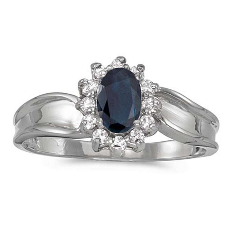 Certified 14k White Gold Oval Sapphire And Diamond Ring #PAPPS50873