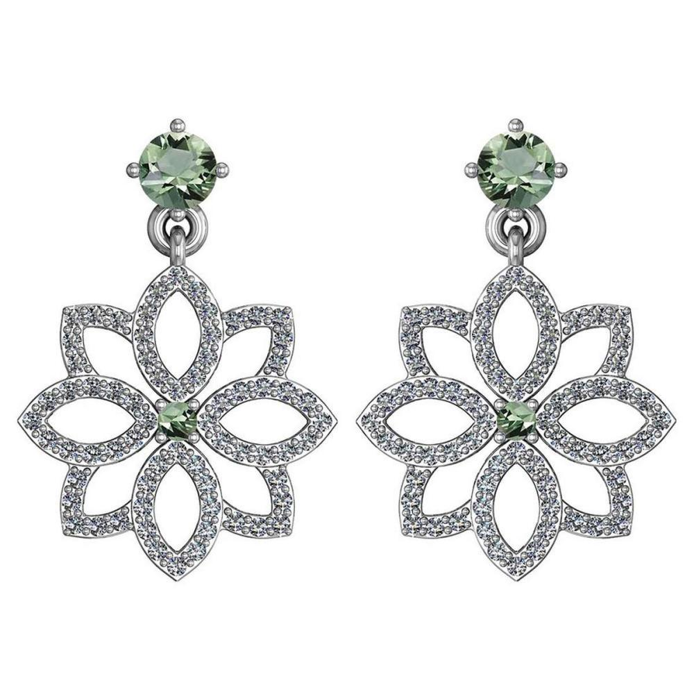 1.20 Ctw Green Amethyst And Diamond 14k White Gold Halo Dangling Earrings #PAPPS96181