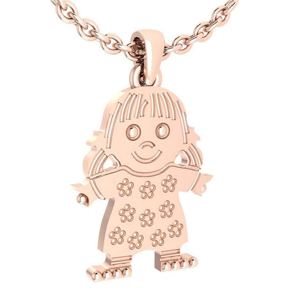 Little Baby Girl Gold MADE IN USA Charm Necklace 14K Rose Gold MADE IN ITALY #PAPPS20239