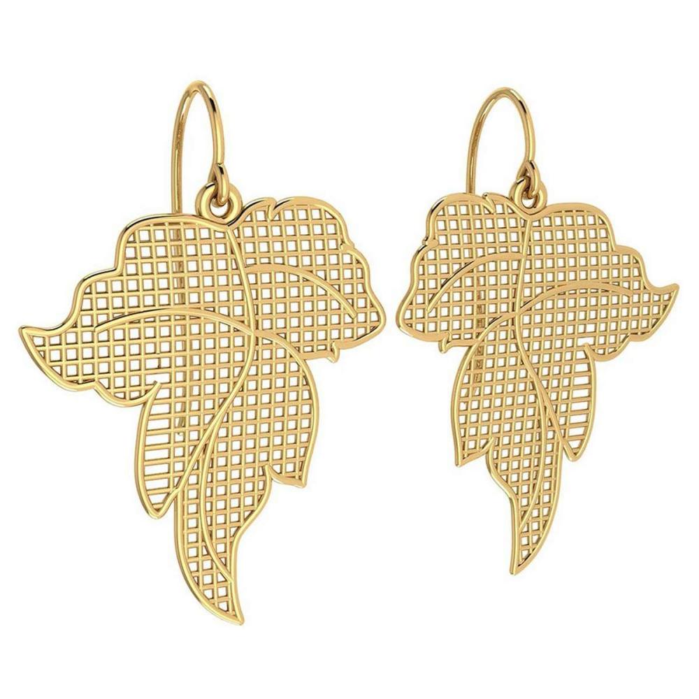 Gold Leaf Style Wire Hook Earrings 18k Yellow Gold MADE IN ITALY #PAPPS21240