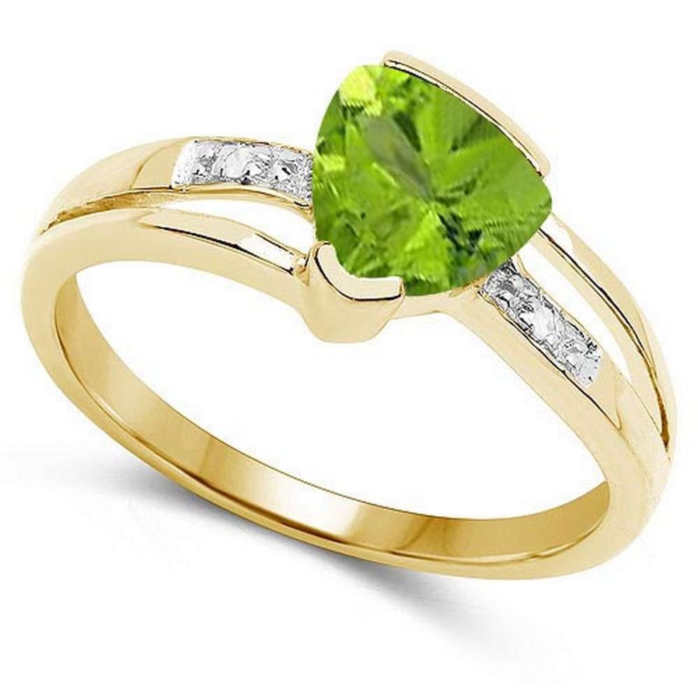 Certified 1.68 CTW Genuine Peridot And Diamond 14K Yellow Gold Ring #PAPPS90851