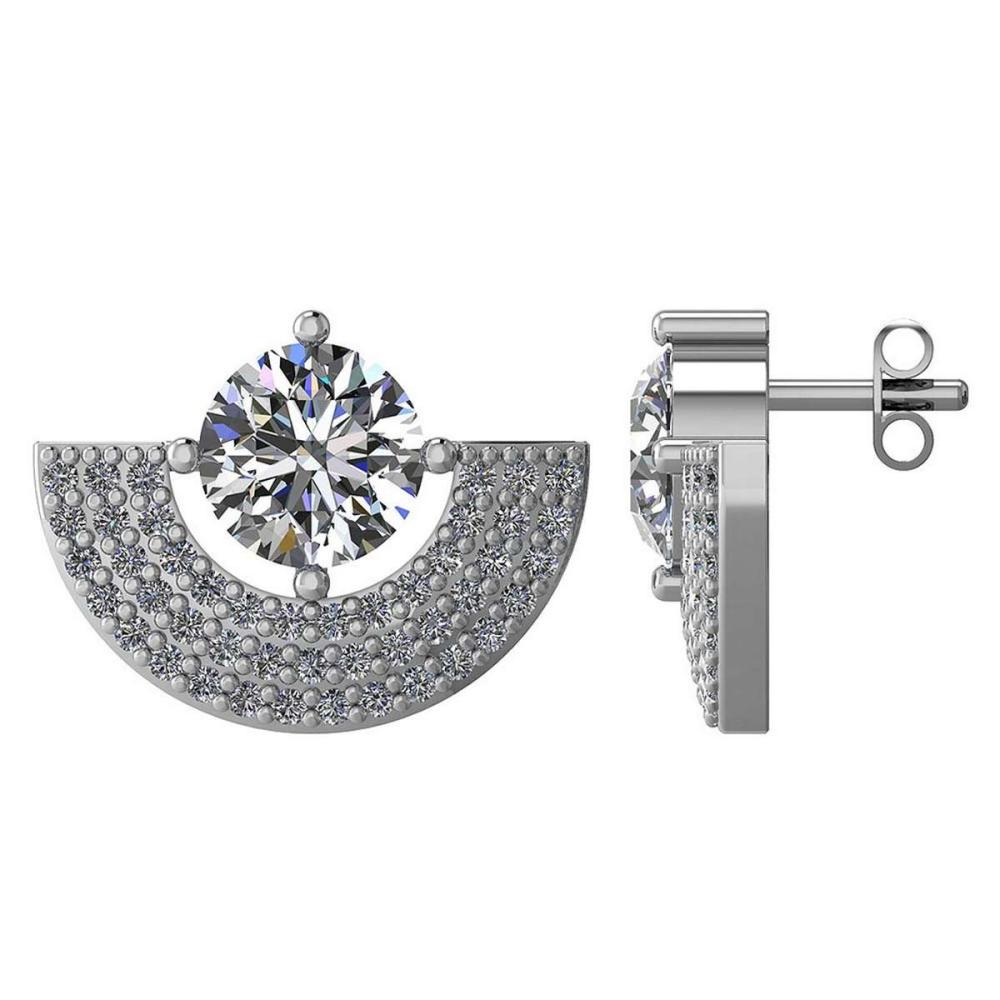 Certified 2.00 CTW Round Diamond 14K White Gold Earring #PAPPS92296