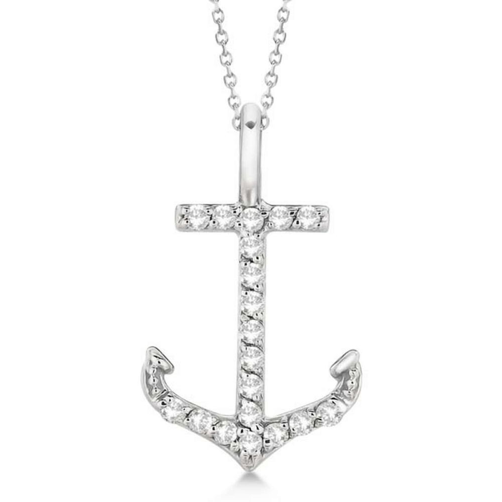 Anchor Diamond Pendant Necklace 14K White Gold (0.10ct) #PAPPS20961