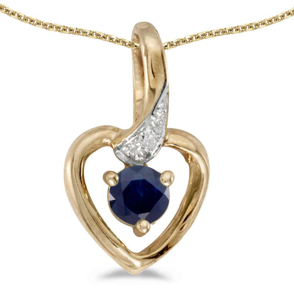 Certified 10k Yellow Gold Round Sapphire And Diamond Heart Pendant 0.23 CTW #PAPPS27519