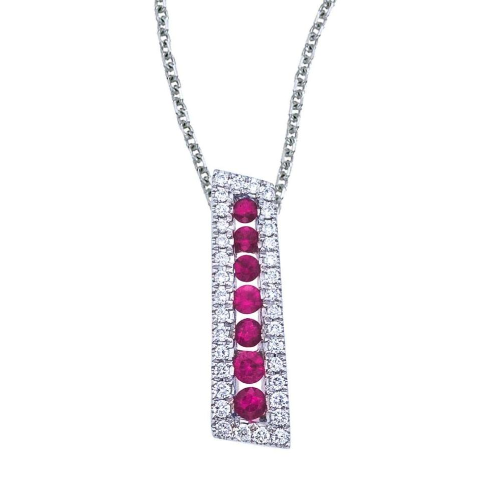 Certified 14k White Gold Ruby and Diamond Stick Pendant #PAPPS26797