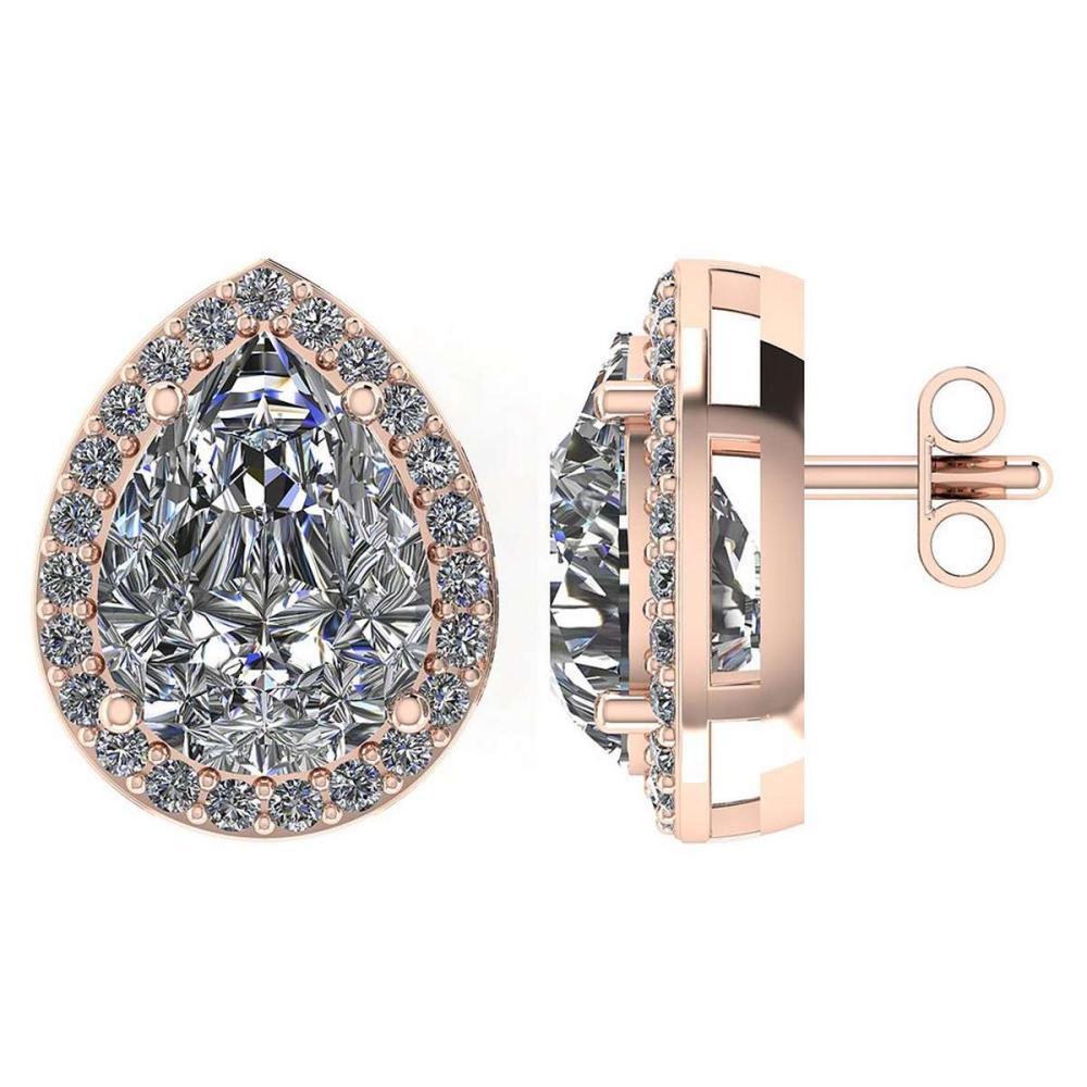 Certified 1.75 CTW Pear Diamond 14K Rose Gold Earring #PAPPS92321