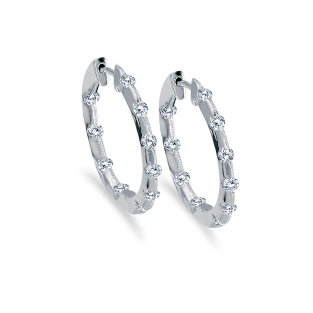 Certified 14k White Gold .50 Ct Diamond Inside Outside Hoop Earrings #PAPPS26631