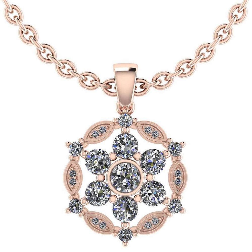 Certified 1.20 CTW Round Diamond 14K Rose Gold Pendant #PAPPS92303