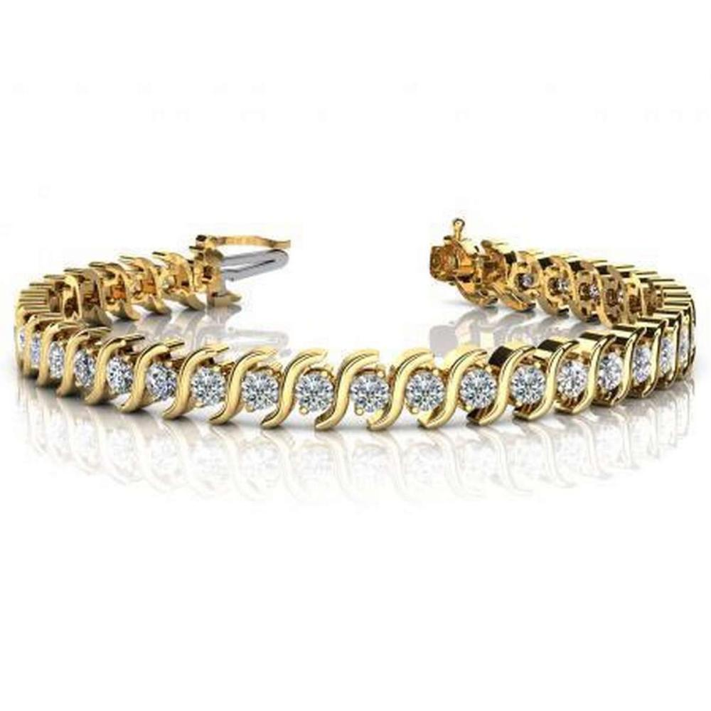 CERTIFIED 14K YELLOW GOLD 3 CTW G-H SI2/I1 CLASSIC S SHAPED DIAMOND TENNIS BRACELET MADE IN USA #PAPPS21499