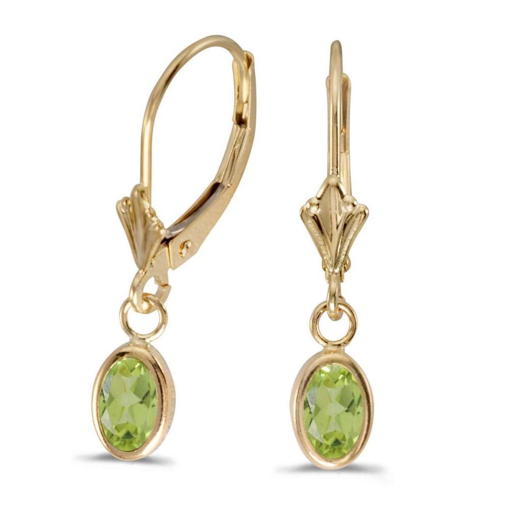 Certified 14k Yellow Gold Oval Peridot Bezel Lever-back Earrings 0.8 CTW #PAPPS27270