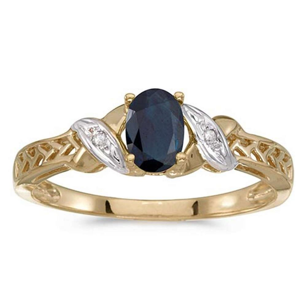 Certified 14k Yellow Gold Oval Sapphire And Diamond Ring #PAPPS50870