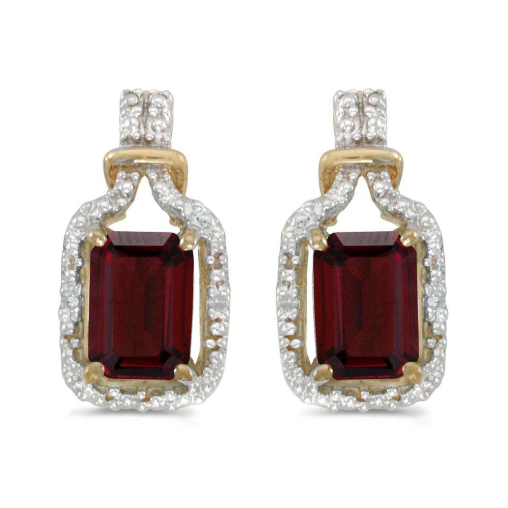 Certified 14k Yellow Gold Emerald-cut Garnet And Diamond Earrings 1.94 CTW #PAPPS27196
