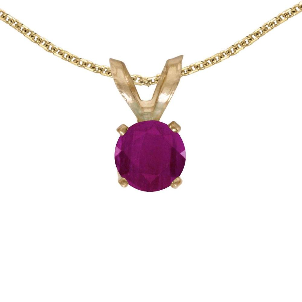 Certified 14k Yellow Gold Round Ruby Pendant 0.24 CTW #PAPPS27636