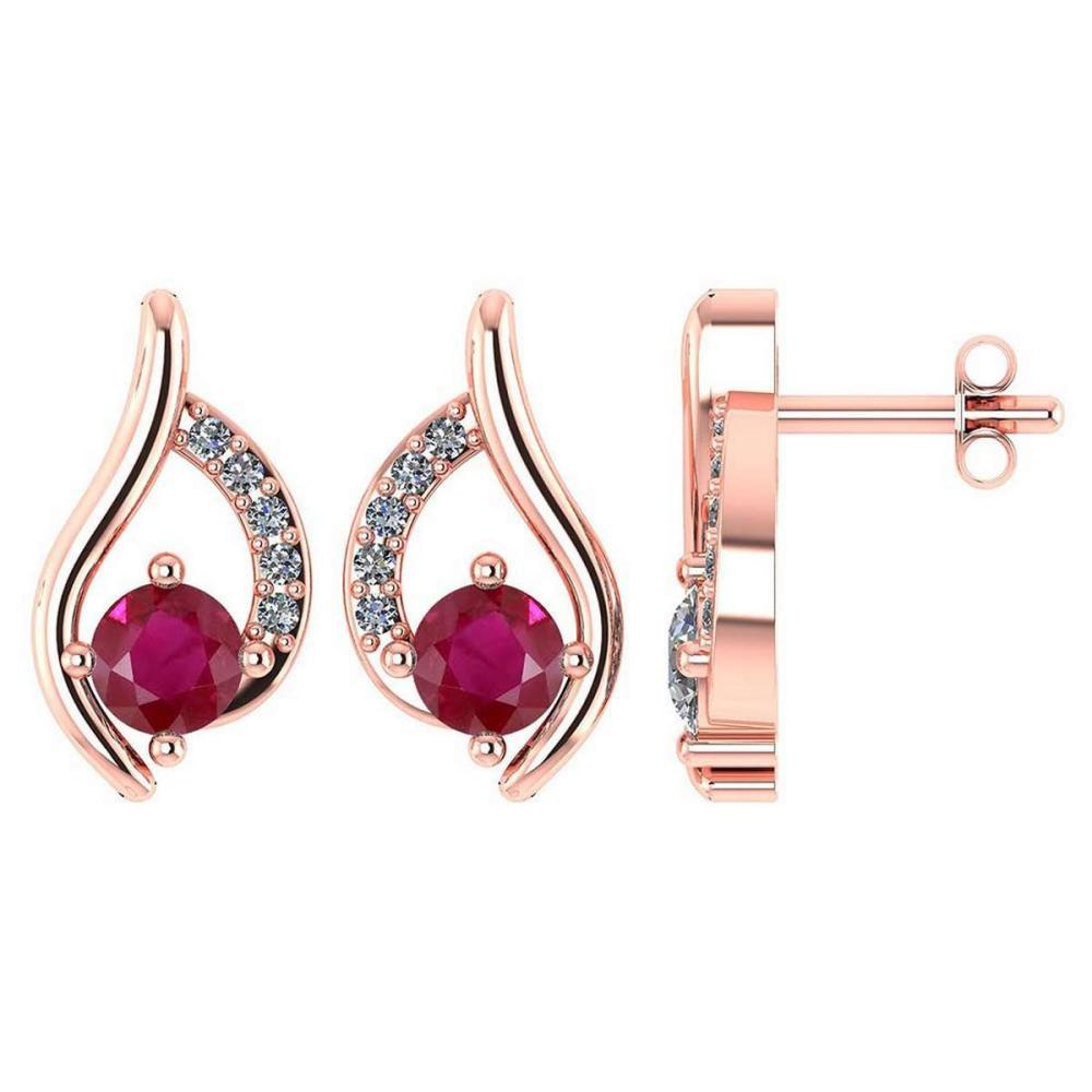 Certified .51 CTW Genuine Ruby And Diamond (G-H/SI1-SI2) 14K Rose Gold Stud Earring #PAPPS93023