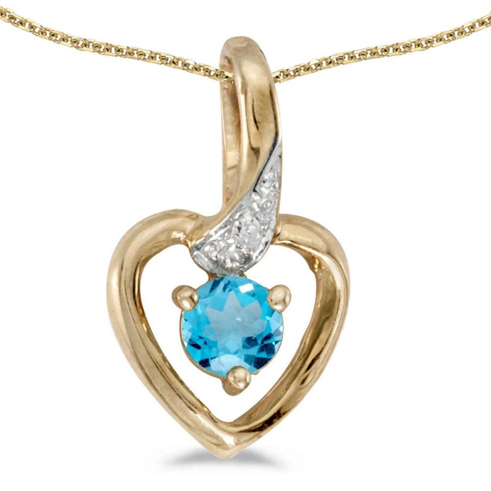 Certified 14k Yellow Gold Round Blue Topaz And Diamond Heart Pendant 0.27 CTW #PAPPS27589