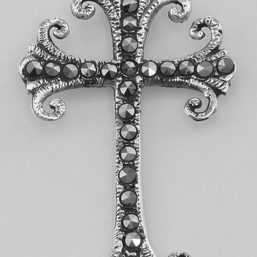 Antique Style Marcasite Cross Pendant - Sterling Silver #PAPPS97772