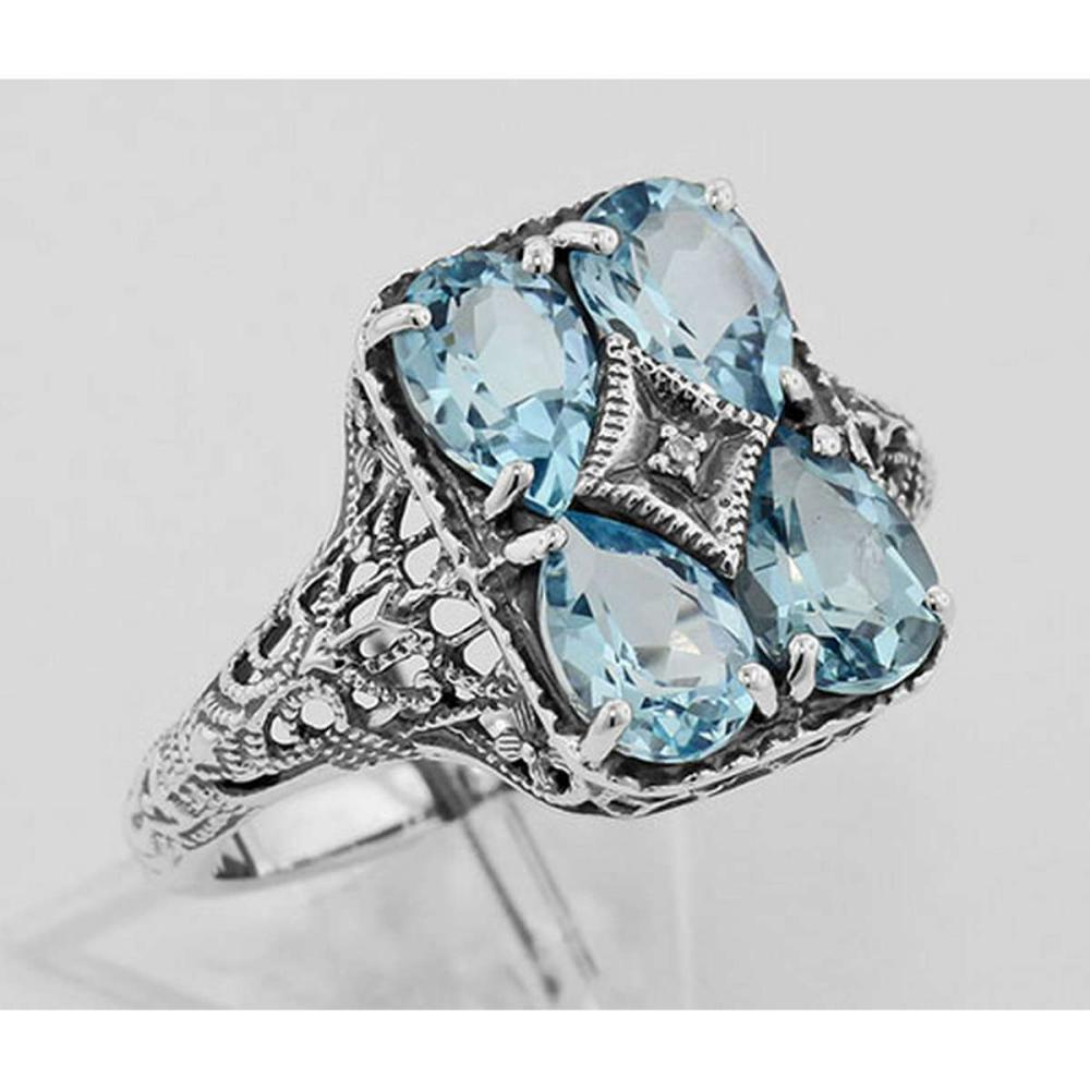 Art Deco Blue Topaz with Diamond Filigree Ring - Sterling Silver #PAPPS98127