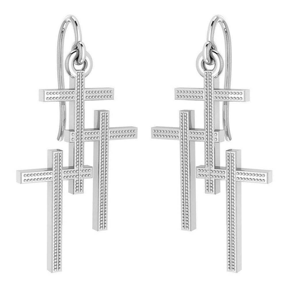 Holy Cross Wire Hook Earrings 18k White Gold MADE IN ITALY #PAPPS21245