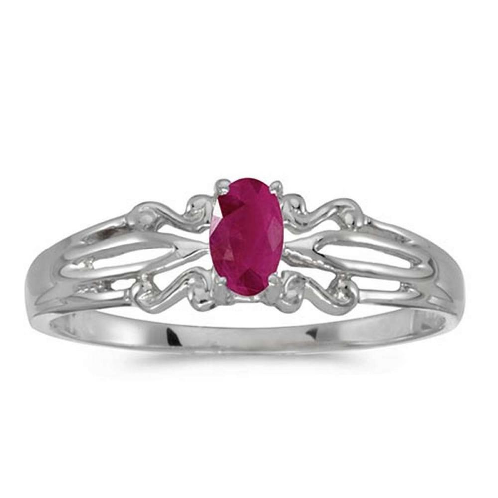 Certified 14k White Gold Oval Ruby Ring #PAPPS50864