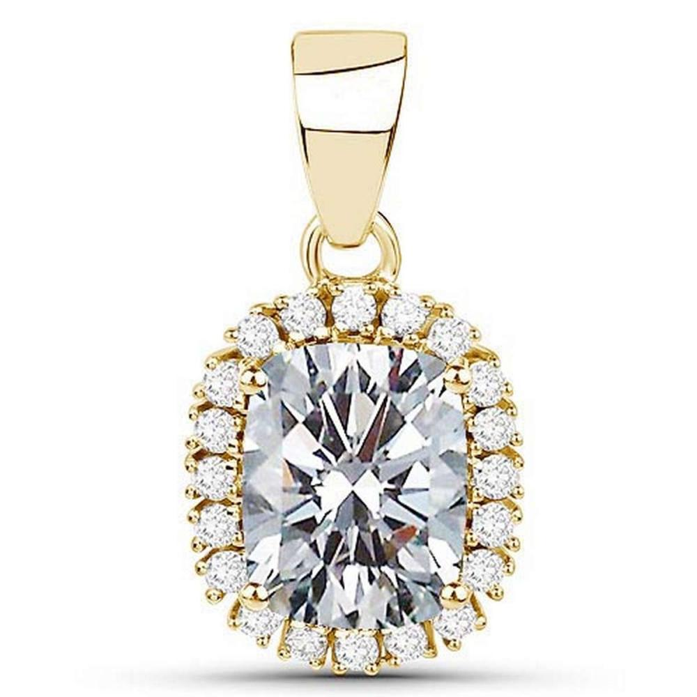 Certified 1.40 CTWCussion Diamond 14K Yellow Gold Pendant #PAPPS92301