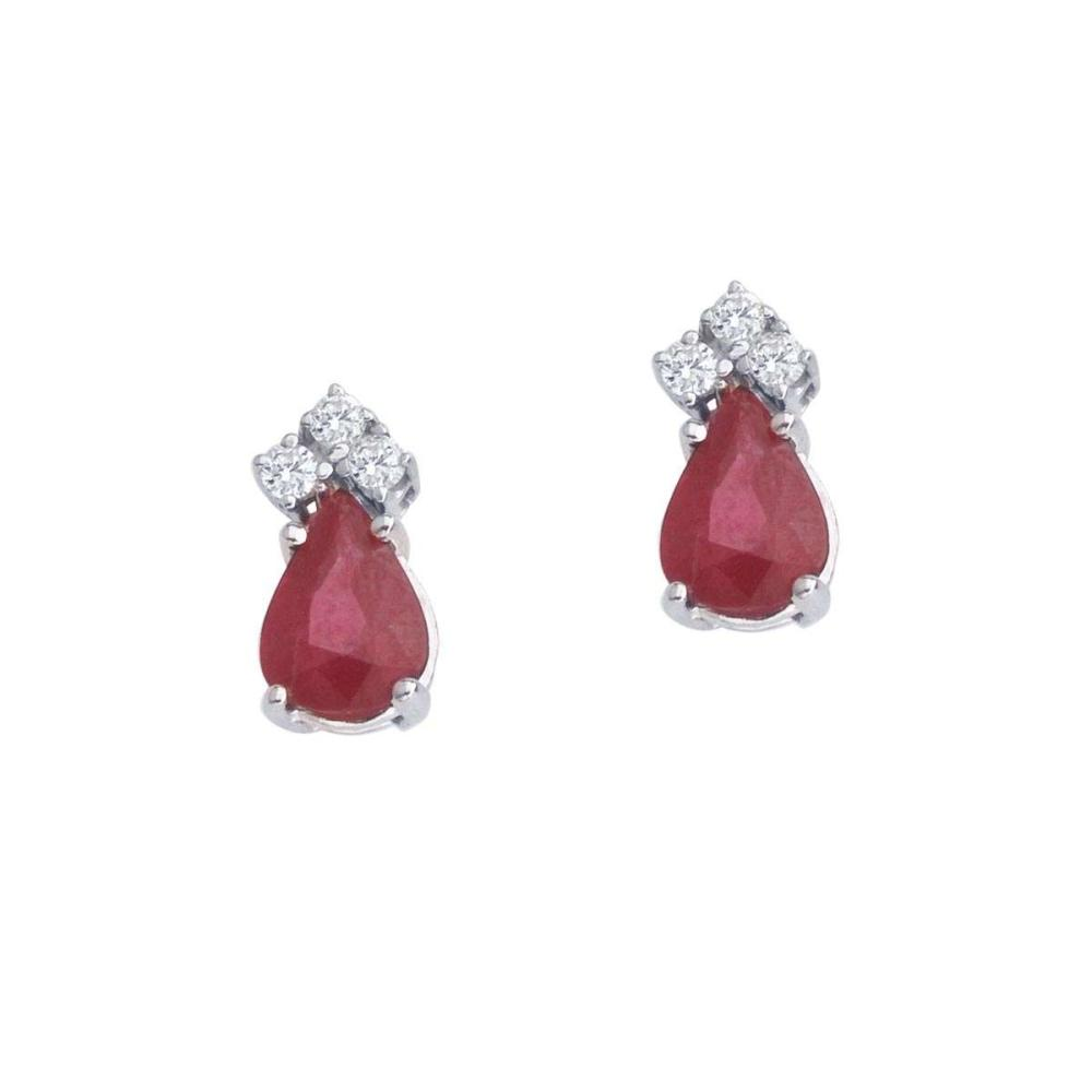 Certified 14k White Gold Ruby And Diamond Pear Shaped Earrings #PAPPS26887